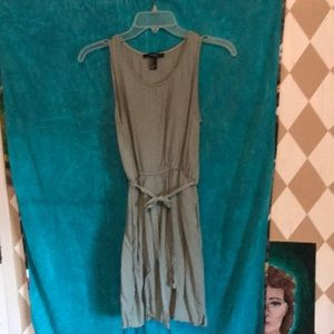 Olive green mini dress with pockets and belt